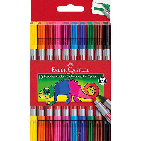 фломастеры faber castell connector 60цв смываемые соединяемые колпачки пластик уп европодв Faber-Castell Фломастеры двусторонние Faber-Castell, 10 шт, смываемые
