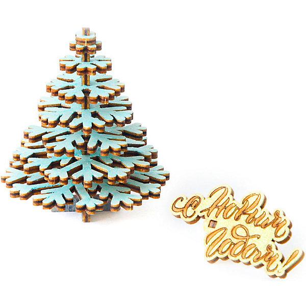 Купить Деревянный конструктор Uniwood Маленькая елочка , 14 элементов, Россия, бежевый, Унисекс