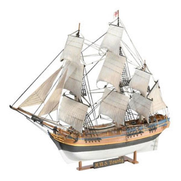 H.M.S. Баунти, 1:96, (5)Корабли и подводные лодки<br>Характеристики товара:<br><br>• возраст: от 10 лет;<br>• масштаб: 1:110;<br>• количество деталей: 171 шт;<br>• материал: пластик; <br>• клей и краски в комплект не входят;<br>• длина модели: 37,2 см;<br>• высота модели: 29,1 см;<br>• бренд, страна бренда: Revell (Ревел),Германия;<br>• страна-изготовитель: Китай.<br><br>Сборная модель «Парусник H.M.S. Баунти» поможет вам и вашему ребенку придумать увлекательное занятие на долгое время. Парусник выполнен в масштабе 1:110. Игрушка имеет высокую степень детализации, что делает ее точной копией настоящего морского судна. Корабль Его Величества «Баунти» известен тем, что в 1789 году на нем разгорелся мятеж, в итоге чего власть перешла к помощнику капитана.<br><br>Набор для склеивания включает в себя 171 пластиковый элемент, декаль с наклейками, нити для такелажа, а также подробную инструкцию. Готовый парусник можно установить на подставку, входящую в набор, и он украсит стол или книжную полку ребенка. Обращаем ваше внимание на тот факт, что для сборки этой модели клей и краски в комплект не входят. <br><br>Процесс сборки развивает интеллектуальные и инструментальные способности, воображение и конструктивное мышление, а также прививает практические навыки работы со схемами и чертежами.<br><br>Сборную модель «Парусник H.M.S. Баунти», 171 дет., Revell (Ревел) можно купить в нашем интернет-магазине.<br>Ширина мм: 389; Глубина мм: 251; Высота мм: 76; Вес г: 408; Возраст от месяцев: 168; Возраст до месяцев: 228; Пол: Мужской; Возраст: Детский; SKU: 1772712;