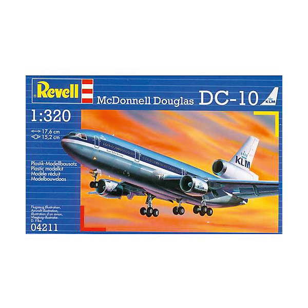 Самолет McDonnell Douglas DC-10Самолеты и вертолеты<br>Характеристики товара:<br><br>• возраст: от 10 лет;<br>• масштаб: 1:144;<br>• количество деталей: 60 шт;<br>• материал: пластик;<br>• клей и краски в комплект не входят;<br>• длина модели: 17,6 см;<br>• размах крыльев: 15,2 см;<br>• бренд, страна бренда: Revell (Ревел), Германия;<br>• страна-изготовитель: Польша.<br><br>Набор для сборки «Самолет McDonnell Douglas DC-10» поможет вам и вашему ребенку придумать увлекательное занятие на долгое время и весело провести свой досуг. <br><br>Разработанный в 1970 году новый лайнер уже через год поступил в распоряжение компании Америкэн Эйрлайнс. Серийно производился до 1989 года. На данный момент в эксплуатации остаются 4 пассажирский лайнера DC-10. Остальные машины либо были списаны, либо переделаны в грузовые версии. <br><br>В набор входят 42 пластиковые детали, которые помогут воссоздать точную деталлизированную копию самолета. Детали можно собрать и без помощи клея, на защелки, согласно инструкции. Готовый боинг украсит стол или книжную полку ребенка. Краски и клей в комплект не входят.<br><br>Процесс сборки развивает интеллектуальные и инструментальные способности, воображение и конструктивное мышление, а также прививает практические навыки работы со схемами и чертежами. <br><br>Набор для сборки «Самолет McDonnell Douglas DC-10», 42 дет., Revell (Ревел) можно купить в нашем интернет-магазине.<br>Ширина мм: 207; Глубина мм: 132; Высота мм: 34; Вес г: 120; Возраст от месяцев: -2147483648; Возраст до месяцев: 2147483647; Пол: Унисекс; Возраст: Детский; SKU: 1772894;