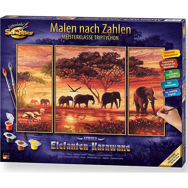 Картина-триптих по номерам Schipper Африканские слоны 50х80 смКартины по номерам<br>Характеристики:<br><br>• возраст: от 12 лет<br>• в наборе: 3 фактурные картонные основы с пронумерованными контурами; акриловые краски на водной основе 26 цветов; кисточка из нейлона; наклейки с номерами; контрольный лист; инструкция.<br>• тематика изображения: пейзаж<br>• уровень сложности: 4<br>• количество картин: 3 шт. (изображение единое)<br>• размер картины: 50х80см. (20х50 см 40х50см 20х50 см.)<br>• форма собранной картины: прямоугольная горизонтальная<br>• упаковка: картонная коробка<br>• температура хранения: выше +5°C.<br>• произведено в Германии<br><br>Набор для раскрашивания по номерам «Африканские слоны» от компании Schipper (Шиппер) - это набор для творчества, в который входит все необходимое для создания картины из трех частей.<br><br>Нарисовать удивительную картину будет под силу даже тем, кто не обладает навыками художников. Картины-заготовки выполнены на фактурной картонной основе с пронумерованными контурами. Для создания шедевра потребуется аккуратно, шаг за шагом, заполнять цветными акриловыми красками пронумерованные участки холста. Картина раскрашиваются без смешивания красок.<br><br>В наборе имеется контрольный лист, на котором можно потренироваться в нанесении цвета или сверить номер краски на каком-либо участке картины. Акриловые краски содержатся в очень плотно закрытых контейнерах, поэтому доходят до покупателя, сохранив свои свойства.<br><br>Раскрашивание по номерам позволяет разить творческие способности, моторику пальцев, улучшить цветовосприятие.<br><br>Набор для раскрашивания по номерам Schipper Триптих Африканские слоны, 50*80 см, 6/6 можно купить в нашем интернет-магазине.<br>Ширина мм: 515; Глубина мм: 413; Высота мм: 43; Вес г: 1135; Возраст от месяцев: 144; Возраст до месяцев: 228; Пол: Женский; Возраст: Детский; SKU: 1804951;