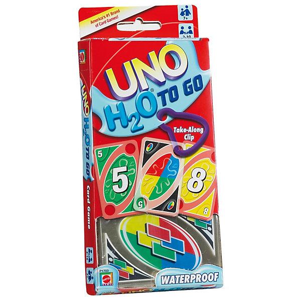 Игра УНО H2O, Mattel GamesНастольные игры для всей семьи<br>Игра УНО H2O, Mattel Games (Маттел Геймс)<br><br>Характеристики:<br><br>• специальные карты для активных игроков<br>• отверстия для удобного ношения<br>• карты устойчивы к повреждениям<br>• количество игроков: 2-10<br>• количество карт: 108<br>• в комплекте: карты, карабин, инструкция<br>• размер упаковки: 20,5х9,5х2 см<br><br>Уно - интересная игра для детей и взрослых. Правила игры очень просты. Каждые игрок получает по 7 карт, остальные кладут на стол рубашкой вверх, составляя колоду Прикуп. Одна карта переворачивается и представляет собой начало колоды Сброс. Игроки по очереди могут избавиться от одной своей карты. Это можно сделать если одна из ваших карт совпадает по цвету, цифре или картинке с картой Сброс. Или можно достать одну карту из колоды Прикуп, и если она совпадает - отложить. Если же карта не подходит - вы забираете ее себе. Игра заканчивается, когда один из игроков сбрасывает все карты. <br><br>Игра УНО H2O содержит 108 карт, созданных специально для походов. Карты устойчивы к намоканию и другим повреждениям. Сверху есть отверстие, в которое можно продеть карабин, входящий в комплект. Ваша любимая игра всегда будет рядом!<br><br>Игра УНО H2O, Mattel Games (Маттел Геймс)вы можете купить в нашем интернет-магазине.<br>Ширина мм: 202; Глубина мм: 93; Высота мм: 23; Вес г: 231; Возраст от месяцев: 84; Возраст до месяцев: 156; Пол: Унисекс; Возраст: Детский; SKU: 1829824;
