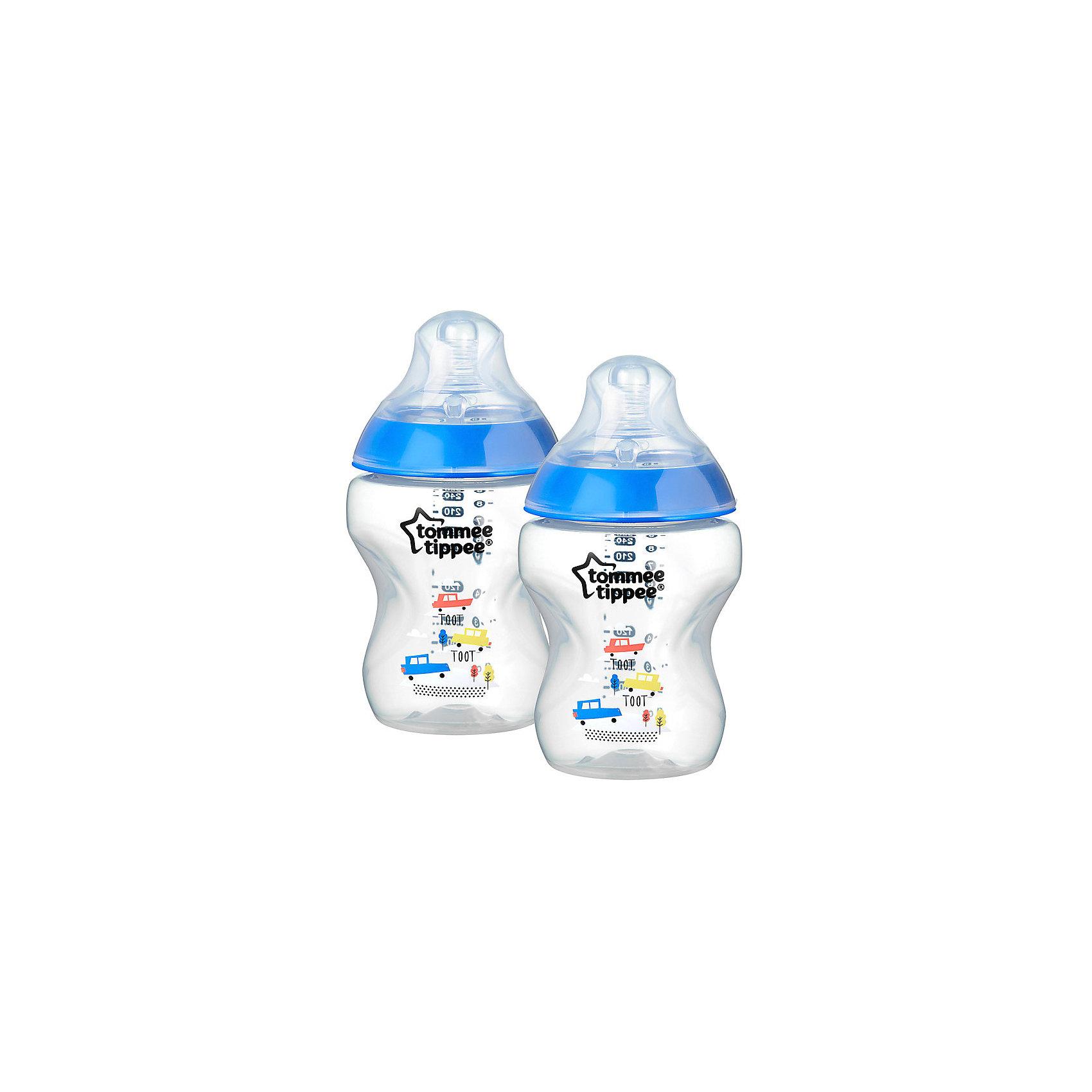 Бутылочки для кормления Tommee Tippee Closer to Nature с антиколиковым клапаном, 260 мл, 2 шт., синяя 2