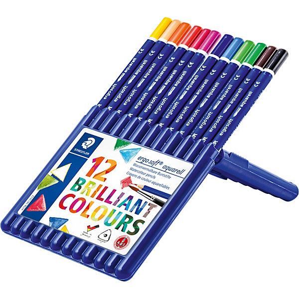 Акварельные карандаши Ergosoft, 12 цв.Карандаши<br>Набор цветных карандашей  Ergo Soft эргонамичной  трехгранной  формы с акварельным грифелем для легкого письма. Содержит 12  цветов. Пластиковая коробка-подставка. Предлагается широкий выбор возможностей для применения - также водой и кистью.  Уникальное, нескользящее мягкое покрытие. A-B-C - белое защитное покрытие для укрепления грифеля и для защиты от поломки. Очень мягкий и яркий грифель. Лак на водной основе. При производстве используется древесина и специально подготовленных лесов.