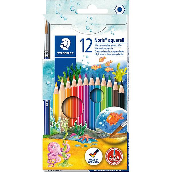 Staedtler Карандаш акварельный Noris Club набор 12 цветов + кисть. Staedtler staedtler набор цветных карандашей noris club 12 цветов