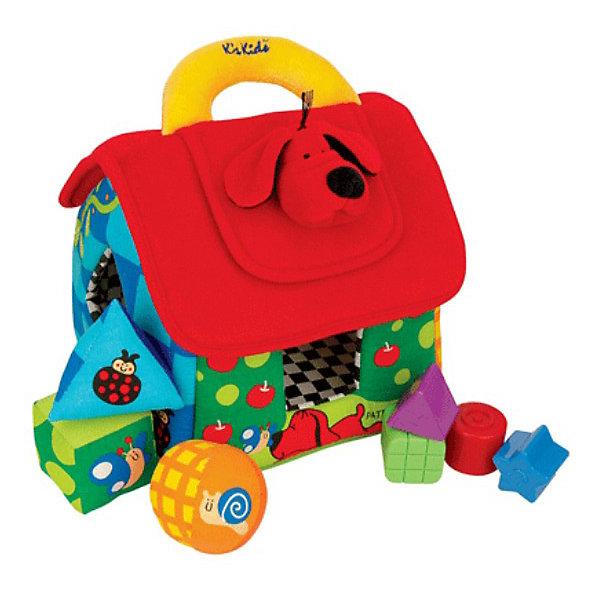 Ks Kids Домик мягкий обучающий, сортерРазвивающие игрушки<br>Мягкий и яркий домик - это удобный развивающий сортер со множеством игровых и обучающих функций.<br><br>На крыше домика находится пластиковая вставка-сортер с 4 геометрическими отверстиями. Кубики попадут в домик, если малыш правильно подберёт их по размеру и форме.<br><br>Когда малыш захочет достать кубики из домика, ему надо будет приподнять чердачную дверку в форме собачки. На другой стороне находится зеркало, - гибкая и травмобезопасная поверхность - которое приятно удивит Вашего малыша. <br><br>Стенки дома тоже порадуют малыша. В окошки геометрической формы можно вкладывать большие кубики. Также есть одно окошко, закрытое шуршащими ставнями. Если малыш его откроет, то увидит портреты мальчика и девочки.<br><br>Кубики выполнены из различных материалов (атлас, кожа, вельвет и бархат), чтобы развить у малыша тактильные ощущения. Две фигурки - погремушки, а третья фигурка - это пищалка. <br><br>На крыше домика находится удобная ручка для переноски. <br><br>Дополнительная информация:<br><br>В комплект входят: <br>- домик; <br>- 3 мягких кубика - шар, треугольник, куб; <br>- 3 прозрачных пластмассовых кубика - шар, треугольник, куб;<br>- 4 маленьких пластмассовых кубика в форме звёздочки, круга, треугольника и квадрата.<br><br>Размеры (д/ш/в): 28 х 25 х 21 см.<br><br>Необычный сортер для Вашего малыша!<br>Ширина мм: 280; Глубина мм: 250; Высота мм: 210; Вес г: 700; Возраст от месяцев: 12; Возраст до месяцев: 36; Пол: Унисекс; Возраст: Детский; SKU: 2148734;