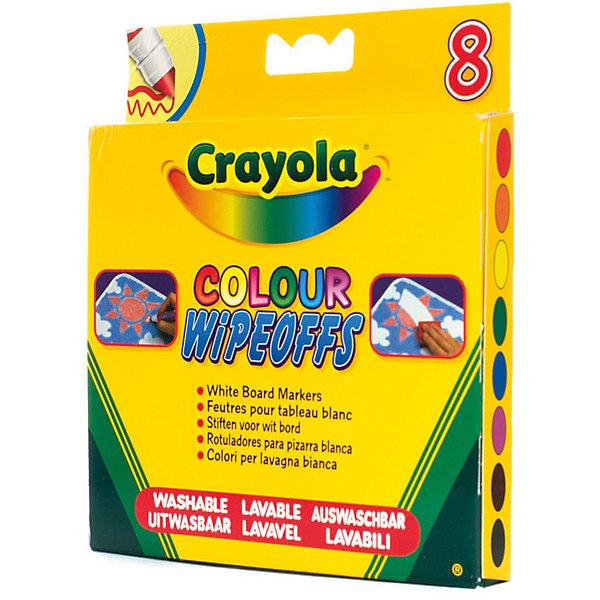 Фломастеры 8 цветов радуги для белой доски, CrayolaФломастеры<br>Характеристики:<br><br>• возраст: от 3 лет;<br>• в комплекте: 8 маркеров;<br>• длина одного маркера: 13,5 см.;<br>• диаметр одного маркера: 1,5 см.;<br>• цвет: мульти;<br>• не содержит вредных веществ и токсинов;<br>• материал корпуса: пластик;<br>• размер упаковки: 16х14х1,5 см.;<br>• вес упаковки: 120 гр.;<br>• страна бренда: США.<br><br><br>Набор фломастеров Crayola (Крайола) предназначен для рисования на белой пластиковой доске. В упаковке 8 ярких цветов: оранжевый, красный, голубой, желтый, черный, синий, зеленый и фиолетовый. <br><br>Благодаря утолщенному наконечнику фломастеры не вдавливаются при нажатии, легко смываются с доски при помощи губки. Не содержат вредных веществ, не токсичны и не вызывают аллергических реакций.<br><br>Фломастеры «8 цветов радуги» для белой доски от Crayola (Крайола) можно купить в нашем интернет- магазине.<br>Ширина мм: 161; Глубина мм: 142; Высота мм: 14; Вес г: 120; Возраст от месяцев: 36; Возраст до месяцев: 120; Пол: Унисекс; Возраст: Детский; SKU: 2149667;