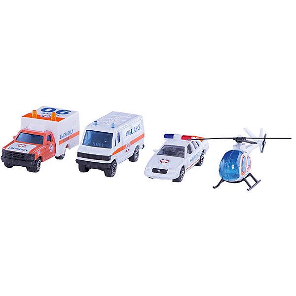Welly Welly Набор Служба спасения - скорая помощь 4 штуки welly welly набор служба спасения пожарная команда 4 штуки
