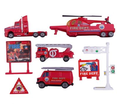 Welly Набор  Служба спасения  пожарная команда  9 штук, артикул:2150018 - Транспорт