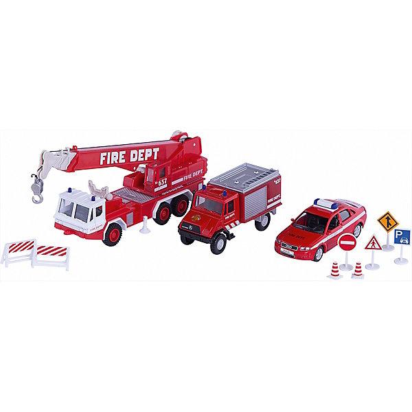 Welly Welly Набор машин Пожарная служба 10 штук welly welly набор служба спасения пожарная команда 4 штуки