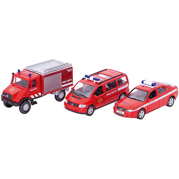 Welly Набор машин Пожарная служба 3 штукиМашинки<br>Характеристики товара:<br><br>• цвет: красный<br>• материал: пластик, металл <br>• размер: 10-13 см<br>• комплектация: 3 предмета<br>• хорошая детализация<br>• возраст: от трех лет<br>• страна бренда: Китай<br>• страна производства: Китай<br><br>В этот игровой набор входит 3 предмета в тематике Пожарная служба - разные машинки. Такая хорошо детализированная игрушка от бренда Welly станет отличным подарком мальчику. Изделия прочные, сделаны из металла с добавлением пластика. С ними можно придумать множество игр!<br>Игры с машинками позволяют ребенку не только весело проводить время, но и развивать важные навыки: мелкую моторику, воображение, логику, мышление. Изделие произведено из сертифицированных материалов, безопасных для детей.<br><br>Набор машин Пожарная служба 3 штуки от бренда Welly (Велли) можно купить в нашем интернет-магазине.<br>Ширина мм: 155; Глубина мм: 60; Высота мм: 200; Вес г: 454; Возраст от месяцев: 84; Возраст до месяцев: 1188; Пол: Мужской; Возраст: Детский; SKU: 2150027;