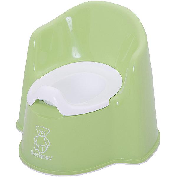 Кресло-горшок BabyBjorn, зеленыйДетские горшки и писсуары<br>Кресло-горшок BabyBjorn (БэйбиБьёрн) - на нем максимально удобно сидеть!<br><br>Для ребенка так важно, чтобы горшок был удобным. Эргономический дизайн с мягкими формами прекрасно справляется с это задачей! Кресло-горшок BabyBjorn с высокой спинкой, удобные подлокотники, возможность свободно перемещать ноги позволяют ребенку комфортно сидеть столько, сколько необходимо. <br><br>Надежная защита от брызг, одинаково подходит как девочкам, так и мальчикам. <br><br>Богатая цветовая гамма и высококачественный пластик (используются исключительно экологически чистые материалы) никого не оставят равнодушными. Внутренняя часть горшка легко вынимается и моется отдельно.  Ребенку будет удобно садиться и вставать, опираясь на подлокотники.  <br><br>Размер отверстия: <br>- с внутренней частью: 18 х 11,5 см <br>- без внутренней части: 18,5 х 12 см <br><br>Высота сиденья: 15 см.<br><br>Кресло-горшок BabyBjorn зеленого цвета можно купить в нашем интернет-магазине.