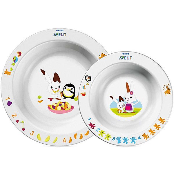 Набор из 2 глубоких тарелок , большая и маленькая, AVENTДетские тарелки<br>Набор детских тарелок (Глубокая тарелка большая + Глубокая тарелка малая) <br>Philips AVENT (Авент) идеально подойдёт малышам, которые стремятся скорее научиться самостоятельно есть! <br>Забавный сказочный герой кролик Труман заинтересует малыша, и кормление превратится в удовольствие!<br><br>Дополнительная информация: <br>- Развивающее оформление<br>- 2 размера тарелок для обеда, закусок и десертов<br>- Нескользящее основание предотвращает проливание<br>- Широкие края удобны для самостоятельного питания <br>- Удобно мыть и хранить<br>- Можно мыть в посудомоечной машине <br>- Можно использовать в микроволновой печи <br>- Без бисфенола-А <br>- Разработано при участии ведущего детского психолога Dr. Gillian Harris<br>- Размеры:<br>маленькая тарелка 40(Г)х140(Ш)х140(В)мм<br>большая тарелка 43(Г)х175(Ш)х175(В)мм<br>- В наборе: тарелки - 2шт.<br><br>Тарелки с весёлым кроликом очень понравятся малышам!<br>Ширина мм: 50; Глубина мм: 210; Высота мм: 260; Вес г: 232; Возраст от месяцев: 12; Возраст до месяцев: 72; Пол: Унисекс; Возраст: Детский; SKU: 2174540;