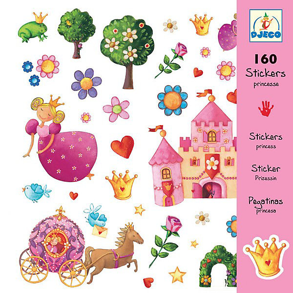 DJECO DJECO Набор из 160 наклеек, Принцессы игровой набор djeco собаки 07818