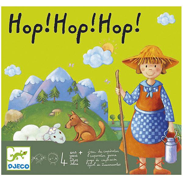 Игра Хоп, хоп, хоп!, DJECOСтратегические настольные игры<br>Игра на взаимодействие. <br><br>Играем все вместе против ветра! Пастушка, ее овцы и овчарка должны вернуться в убежище в овчарню до того, как ветер унесет мост. Удастся ли игрокам действовать сообща, чтобы привести всех овец в овчарню?<br><br>Игровой материал: 4 игровых поля, совмещающихся в одно. На первом поле изображена гора, на втором - дорожка, на третьем – река, на четвертом – место для овчарни. В комплект также входят объемные фигурки и сооружения – мост на десяти опорах, овчарня, девять овечек, пастушка, собака, кубик с изображением символов на гранях (гора, цветок, ветер и т.д.), палочка. Перед игрой все овечки, пастушка и собака размещаются на поле с изображением горы. Игровая задача – переместить в овчарню пастушку, ее овец и собаку, пока ветер не унес мост. Участники выигрывают все вместе, если они смогли справиться с задачей. Каждый участник в свой ход бросает кубик и выполняет действие, обозначенное на кубике символом («солнце» - любая фигурка передвигается к следующей игровой площадке, «ветер» - палочкой убирается одна опора из под моста и т.д.). <br><br>Игра получила награду от центра Игры и Игрушки.<br><br>Дополнительная информация:<br><br>Размер упаковки (д/ш/в): 28 х 5 х 30 см.<br>Количество игроков: 2-6 человек.<br><br>Интересная развивающая игра для Вашего ребёнка.<br><br><br>Игру Хоп, хоп, хоп!, DJECO (Джеко) можно купить в нашем магазине.<br>Ширина мм: 280; Глубина мм: 50; Высота мм: 300; Вес г: 700; Возраст от месяцев: 48; Возраст до месяцев: 120; Пол: Унисекс; Возраст: Детский; SKU: 2200007;