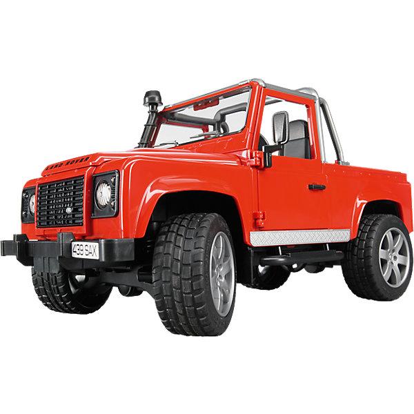 Внедорожник-пикап Land Rover Defender, BruderМашинки<br>Внедорожник-пикап Land Rover Defender, Bruder (Брудер) – игрушка, отличающаяся особой реалистичностью и правдоподобностью.<br>Внедорожник-пикап Land Rover Defender от немецкого производителя игрушек Bruder (Брудер)- это очень реалистичная, эффектная и выносливая игрушечная машина, которой по плечу крутые спуски и езда по бездорожью. На передних и задних осях внедорожника установлены амортизаторы. Прорезиненные колеса с рельефными протекторами обеспечивают отличное сцепление с дорогой. Передние колеса поворачиваются рулем. Машинкой можно управлять через крышу при помощи специального рычага, который удлиняет рулевую стойку.  Двери водителя, пассажира, а также задняя дверь и капот открываются, под капотом расположен двигатель. С левой стороны кабины проходит выхлопная труба. Есть фаркоп. Игрушка изготовлена из высококачественного пластика, устойчивого к износу и ударам. Продукция сертифицирована, экологически безопасна для ребенка, использованные красители не токсичны и гипоаллергенны.<br><br>Дополнительная информация:<br><br>- Размер внедорожника: 28х13,8х14,3 см.<br>- Масштаб 1:16<br>- Материал: высококачественный пластик<br><br>Внедорожник-пикап Land Rover Defender, Bruder (Брудер) можно купить в нашем интернет-магазине.<br>Ширина мм: 383; Глубина мм: 162; Высота мм: 185; Вес г: 682; Возраст от месяцев: 36; Возраст до месяцев: 96; Пол: Мужской; Возраст: Детский; SKU: 2238046;