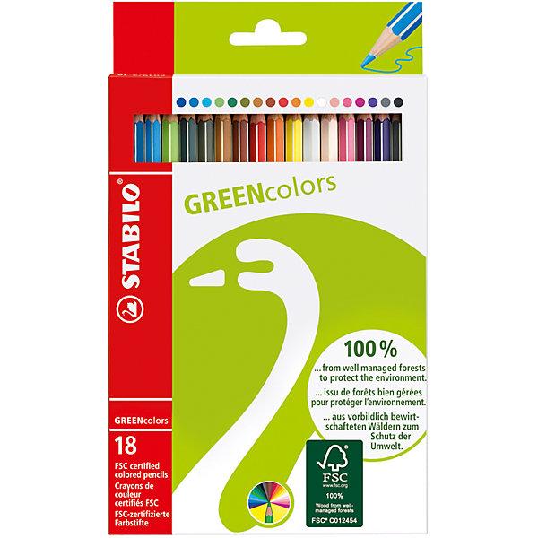 Набор цветных карандашей, 18 цв., GREEN COLOURSКарандаши<br>Набор цветных карандашей, 18 цв., GREEN COLOURS от марки Stabilo<br><br>Эти карандаши созданы немецкой компанией для комфортного и легкого рисования. Легко затачиваются, при этом грифель очень устойчив к поломкам. Цвета яркие, линия мягкая и однородная. Будут долго держаться на бумаге и не выцветать. Рисование помогает детям развивать усидчивость, воображение, образное восприятие мира, а также мелкую моторику рук.  <br>Этот набор - экологически безопасный. Грифель - из возобновляемой древесины, покрытой лаком. Упаковка - из переработанного картона. В наборе - 18 карандашей разных цветов. Они отлично лежат в руке благодаря удобной форме и качественному покрытию.<br><br>Особенности данной модели:<br><br>комплектация: 18 шт.<br><br>Набор цветных карандашей, 18 цв., GREEN COLOURS от марки Stabilo можно купить в нашем магазине.<br>Ширина мм: 129; Глубина мм: 210; Высота мм: 12; Вес г: 99; Возраст от месяцев: 72; Возраст до месяцев: 192; Пол: Унисекс; Возраст: Детский; SKU: 2363403;