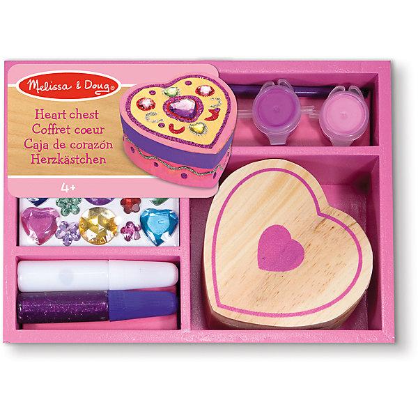 Набор Шкатулка-сердце, Melissa & DougНаборы для декора<br>Набор Шкатулка-сердце, Melissa  Doug (Мелисса и Даг) – это замечательный набор серии «творчество», укомплектованный в деревянный розовый ящик. С помощью набора Ваша девочка самостоятельно смастерит милую шкатулку, в которой сможет хранить свои сокровища и украшения. Набор Шкатулка-сердце способствует развитию творческого мышления, художественных навыков и чувства вкуса.<br><br>Комплектация: шкатулка в форме сердца, клей, блестки, краски и кисточка, разноцветные прозрачные камушки<br><br>Дополнительная информация:<br>-Размер шкатулки: 8х8 см<br>-Материал: дерево, пластик<br>-Размер упаковки: 19x15x5 см<br><br>Благодаря такому набору Ваша маленькая рукодельница сможет своими руками создать уникальную шкатулку для хранения своих украшений. <br><br>Набор Шкатулка-сердце, Melissa  Doug (Мелисса и Даг) можно купить в нашем магазине.