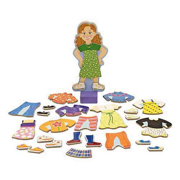 Melissa &amp; Doug Магнитная игра - Переодень МэггиНастольные игры для всей семьи<br>Знакомьтесь, это Мэгги Ли, которой отлично подходят деревянные магнитные платья из ее гардероба! <br><br>Этот набор включает магнитную деревянную куклу на деревянной подставке и множество красочных и привлекательных магнитных деревянных нарядов и аксессуаров, необходимых для игры.<br><br>Дополнительная информация:<br><br>- Материал: дерево<br>- Размер в собранном виде: 2,5х29х21 см<br>Ширина мм: 30; Глубина мм: 300; Высота мм: 210; Вес г: 810; Возраст от месяцев: 36; Возраст до месяцев: 72; Пол: Унисекс; Возраст: Детский; SKU: 2401070;