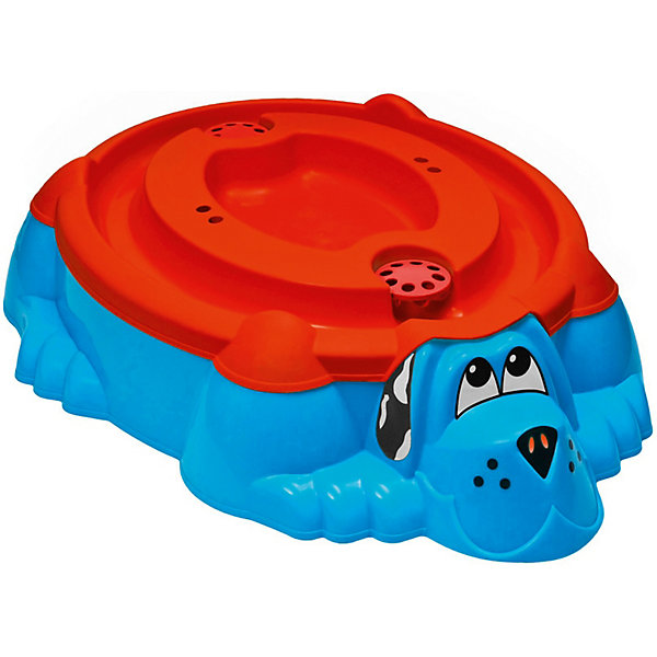 PalPlay Песочница-бассейн - Собачка с крышкой (голубой, красный) песочница бассейн marian plast palplay собачка голубой 373