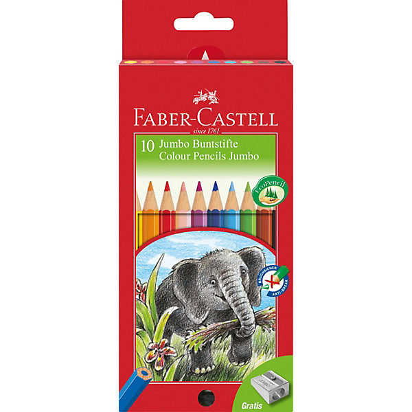 Faber-Castell Цветные карандаши Faber-Castell Jumbo, 10 цветов faber castell цветные карандаши jumbo triangular с точилкой 12 цветов 116501