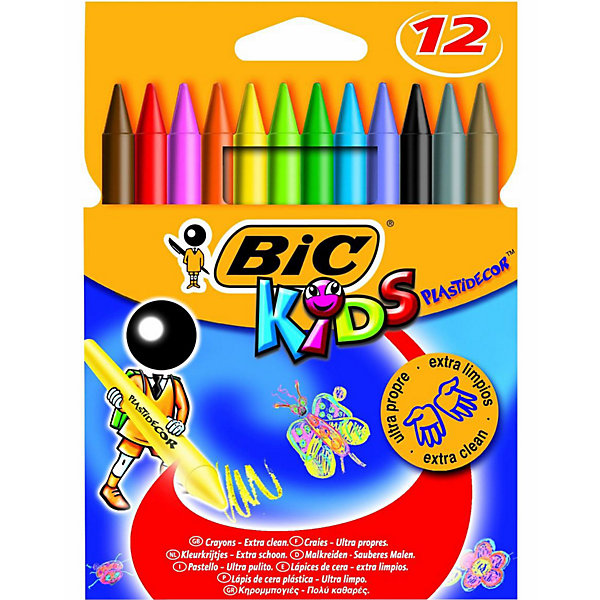 BIC BIC Мелки цветные восковые Пластидекор 12 цветов фломастеры bic kids kid couleur 12 цветов