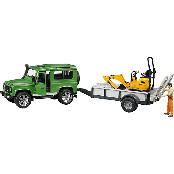 Внедорожник Land Rover c прицепом-платформой,  BruderМашинки<br>Внедорожник Land Rover Defender c прицепом-платформой, гусеничным мини-экскаватором 8010 CTS и рабочим Bruder (Брудер) - увлекательный игровой набор, который порадует любого ребенка и даже взрослого. Автотехника Брудер отличается высоким качеством исполнения и проработкой всех деталей и представляет для ребенка большую познавательную ценность.<br><br>Особенности автомобиля: управлять машиной можно как изнутри кабины, так и снаружи - через раздвижную крышу с помощью вставного рулевого стержня. Кабина оснащена рулем, который вращается и управляет передними колесами. Задние сиденья съемные. Капот можно открыть и зафиксировать, под капотом находится декоративный двигатель.<br><br>Прицеп-платформа оснащена опорой, тягово-сцепным устройством и ящиком для инструментов. Задний борт платформы опускается, выдвигается трап, по которому можно загружать автомобили и дополнительную технику на платформу.<br><br>Платформа гусеничного мини-экскаватора поворачивается на 360°, ковш опускается и поднимается. Колёса прорезинены.<br><br>Дополнительная информация:<br><br>- В наборе: внедорожник, прицеп-платформа, мини экскаватор, фигурка рабочего.<br>- Материал: высококачественный пластик, резина. <br>- Размер игрушки:  66 х 22,2 х 17,5 см.<br>- Размер упаковки: 73 х 18 х 23 см.<br>- Вес: 1,6 кг.<br><br>Внедорожник Land Rover Defender c прицепом-платформой Bruder можно купить в нашем интернет-магазине.<br>Ширина мм: 676; Глубина мм: 185; Высота мм: 223; Вес г: 1407; Возраст от месяцев: 48; Возраст до месяцев: 96; Пол: Мужской; Возраст: Детский; SKU: 2514131;