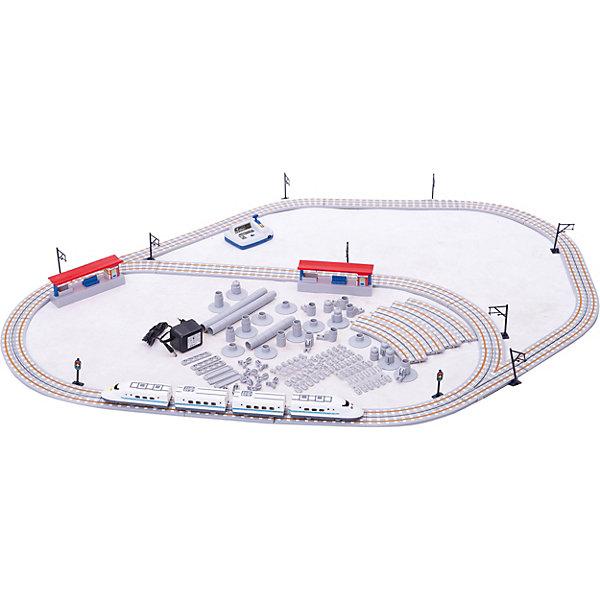 Ж/д Скоростной поезд Стрела 5,6 мЖелезные дороги<br>Стрела Скоростной поезд 5,6 м - детская железная дорога протяженностью 566 см с двумя станциями и красивым скоростным поездом, который двигается точно по расписанию!<br><br>Скоростной поезд способен:<br>• двигаться с четырьмя различными скоростями,<br>• осуществлять движение вперед и назад,<br>• прицеплять вагоны из других наборов серии «Стрела».<br><br>В комплект входит:<br><br>- узел управления с возможностью переключения скоростей,<br>- скоростной локомотив, состоящий из двух вагонов,<br>- пассажирский вагон,<br>- секция с входом питания,<br>- 11 шт. прямых секций пути,<br>- 14 шт. изогнутых секций пути,<br>- стрелка для переключения путей,<br>- 2 станционных платформы,<br>- сетевой адаптер 220V,<br>- 4 запасных обода для колес,<br>- 4 контактных щетки для сцепки поездка и рельсов,<br>- 4 направляющих штифта,<br>- набор семафоров и сигнальных знаков (1 штука).<br>- инструкция на русском языке. <br><br><br><br>Дополнительная информация:<br><br>- Длина полотна: 5,66 м.<br>- Размер упаковки: 49х36,5х6,5 см.<br>- Автоматический и ручной контроль скоростей.<br>- Работа от батареек типа АА (в комплект не входят) или сетевого адаптера 220V.<br>Ширина мм: 490; Глубина мм: 365; Высота мм: 65; Вес г: 2560; Возраст от месяцев: 60; Возраст до месяцев: 1188; Пол: Мужской; Возраст: Детский; SKU: 2557205;
