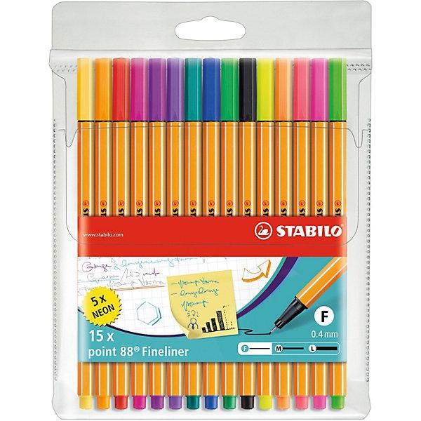 STABILO Набор капиллярных ручек Stabilo Point 88, 15 цветов stabilo набор ручек 5 шт синии