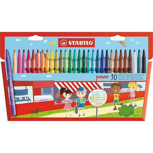 STABILO Набор фломастеров Stabilo Power, 30 цветов stabilo stabilo детские цветные карандаши woody супертолстые 18 цветов