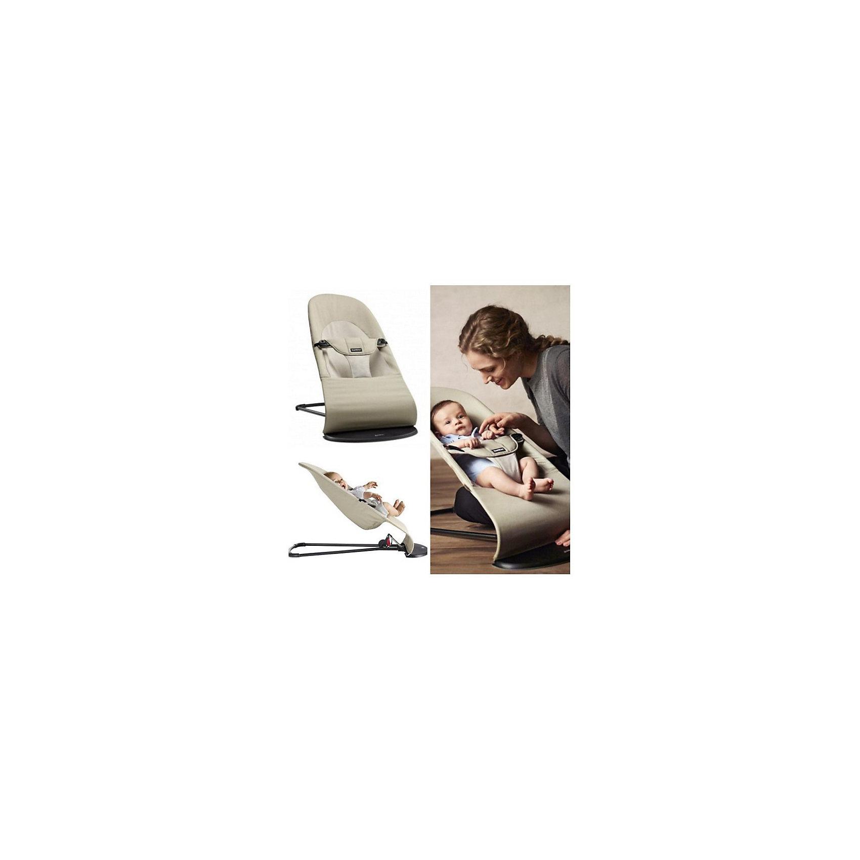 Кресло-шезлонг Balance Soft Air, BabyBjorn, серый с белым