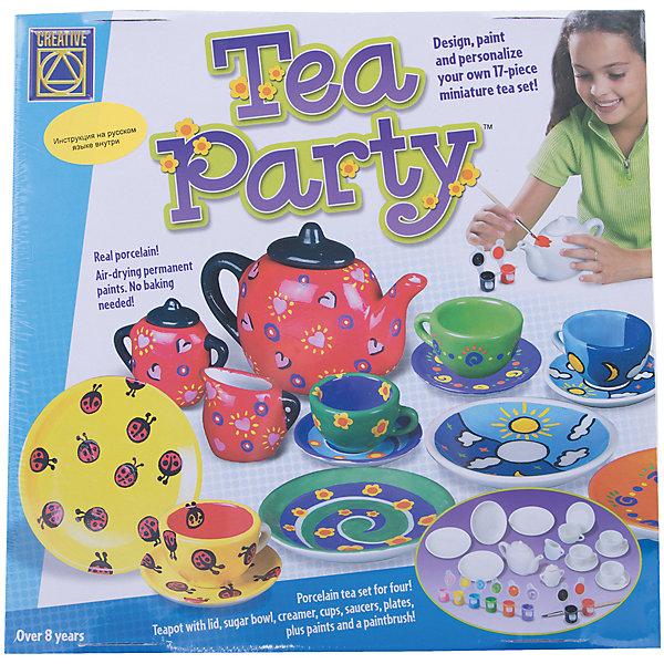 Набор Украшаем чайный сервиз, CreativeНаборы для росписи<br>Набор для творчества Украшаем чайный сервиз поможет вашему ребенку придумать, создать и раскрасить свою посуду для завтрака. Набор состоит из 12 баночек с краской белого, зеленого, сиреневого, черного, коричневого, синего, салатового, розового, красного, оранжевого, желтого и голубого цветов, сервиза, состоящего из 17 предметов (8 блюдец, четыре чашки, заварник с крышкой, молочник, сахарница с крышкой) и подробной инструкции на русском языке.<br>Ширина мм: 300; Глубина мм: 300; Высота мм: 95; Вес г: 1400; Возраст от месяцев: 72; Возраст до месяцев: 2147483647; Пол: Женский; Возраст: Детский; SKU: 3139129;