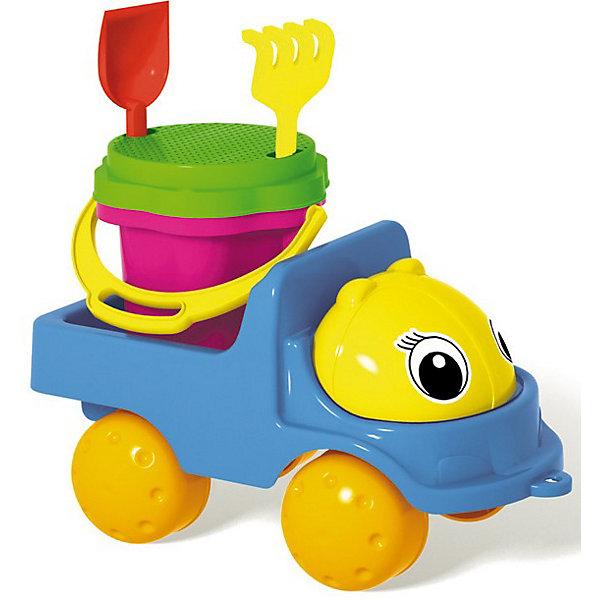 Стеллар Грузовик Кузнечик - 2Играем в песочнице<br>Набор для игры в песочнице Грузовик Кузнечик-2.<br><br>Набор предназначен для игры в песочнице или на даче. В набор входит: яркий грузовик, ведро-цветок 0,3 л, сито, грабли, совок.<br><br>Дополнительная информация:<br><br>- Материал: полипропилен.<br>- Вид упаковки: сетка.<br>- Цвета: зеленый, голубой.<br><br>ВНИМАНИЕ! Данный артикул имеется в наличии в разных цветовых исполнениях. К сожалению, заранее выбрать определенный цвет невозможно. При заказе нескольких позиций возможно получение одинаковых.<br>Ширина мм: 150; Глубина мм: 250; Высота мм: 150; Вес г: 300; Возраст от месяцев: 36; Возраст до месяцев: 72; Пол: Унисекс; Возраст: Детский; SKU: 3167084;