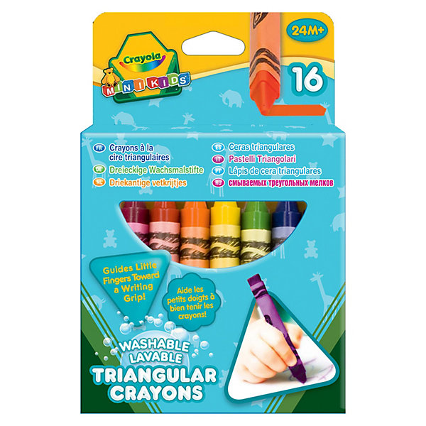 Crayola 16 смываемых треугольных восковых мелков,