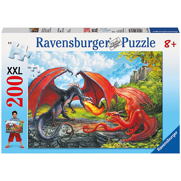 Ravensburger Пазл «Битва драконов» XXL 200 деталей, Ravensburger ravensburger пазл светящийся рапунцель и принц xxl 200 шт
