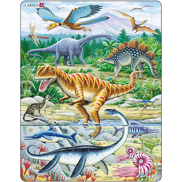 Пазл Larsen Динозавры, 35 элементовПазлы для малышей<br>Характеристики товара:<br><br>• материал: картон<br>• количество элементов: 36<br>• размер пазла: 36,5х28,5<br>• страна бренда: Норвегия<br><br>На собранном пазле можно увидеть различных представителей юрской фауны. Древних динозавров, насекомых, водных обитателей и растения.  Элементы выполнены в разных формах, собирать картинку легко, подбирая нужные контуры. Удобная основа позволяет без труда вставлять и вытаскивать части пазла. Плотный картон не рвётся и не деформируется. Изготовлен из качественных и безопасных материалов.