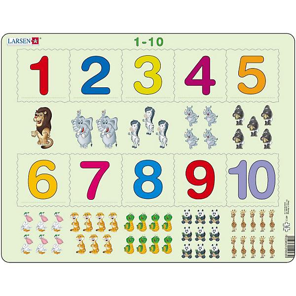Пазл 1-10, 10 деталей, LarsenПазлы для малышей<br>Пазл 1-10, 10 деталей, Larsen (Ларсен) – этот обучающий и развивающий пазл, который относится к серии Математика и предназначен для самых маленьких. На картоне отпечатано десять различных символов, и детям необходимо правильно разместить вырубленные числа от 1 до 10 в соответствии с количеством заданных символов. Изготовлен пазл из плотного трехслойного картона, имеет специальную подложку и рамку, которые облегчают процесс сборки. Высокое качество материала и печати не допускают износа, расслаивания, деформации деталей и стирания рисунка. Занятия по сборке пазла развивают мелкую моторику пальцев, образное и логическое мышление, пространственное воображение, память, внимание, усидчивость, координацию движений.<br><br>Дополнительная информация:<br><br>- Количество элементов: 10 деталей<br>- Материал: плотный трехслойный картон<br>- Размер пазла: 36,5 x 28,5 см.<br><br>Пазл 1-10, 10 деталей, Larsen (Ларсен) можно купить в нашем интернет-магазине.<br>Ширина мм: 370; Глубина мм: 284; Высота мм: 10; Вес г: 313; Возраст от месяцев: 36; Возраст до месяцев: 60; Пол: Унисекс; Возраст: Детский; Количество деталей: 10; SKU: 3206511;
