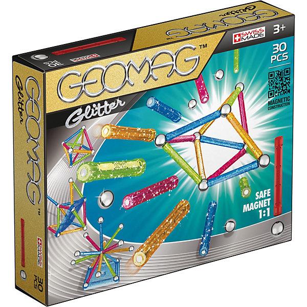Магнитный конструктор Geomag Glitter, 30 деталейМагнитные конструкторы<br>Характеристики:<br><br>• возраст: от 3 лет;<br>• материал: пластик, металл, магнит;<br>• количество деталей: 30;<br>• в наборе: 13 палочек, 16 стальных шариков, 1 платформа;<br>• размер упаковки: 21х5х17 см;<br>• страна бренда: Швейцария.<br><br>Из магнитного конструктора Geomag Glitter можно собрать бесконечное количество объемных геометрических фигур и сооружений. Детали в виде палочек с магнитами легко соединяются между собой. Для объемной сборки между ними вставляются металлические шарики. Все пластиковые элементы усыпаны блестками. Набор сочетается с другими конструкторами Geomag.