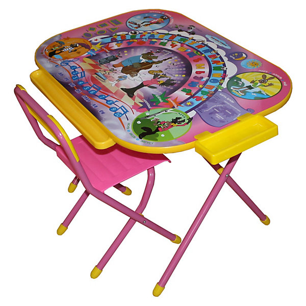 Набор мебели Ну, погоди! (3-7 лет), Дэми, розовыйДетские столы и стулья<br>Набор предназначен для детей с 3 до 7 лет. Набор состоит из стола и стульчика, и идеально подходит для организации детских игр и занятий, как в дошкольных учреждениях, так и для домашнего использования. <br>В данный набор входит стол с увеличенной рабочей поверхностью 550*800 мм. Стол оснащен маленьким пеналом для ручек и карандашей, большим, вместительным ящиком для альбомов и книг, а также лотком-желобом для канцелярских принадлежностей спереди.<br><br>Поверхность столешницы ламинированная, ее легко мыть и чистить. На столешницу нанесен яркий, красивый обучающий рисунок, позволяющий Вашему ребенку познакомиться с миром букв и цифр. После занятий при необходимости его можно сложить и убрать, что позволяет использовать его даже в малогабаритных помещениях. <br><br>Допустимая нагрузка на сиденье - не более 30 кг.<br>Ширина мм: 150; Глубина мм: 800; Высота мм: 800; Вес г: 10000; Возраст от месяцев: 36; Возраст до месяцев: 84; Пол: Женский; Возраст: Детский; SKU: 3247887;