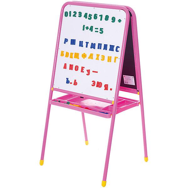 Розовый двусторонний мольберт с буквами, ДэмиДетские мольберты<br>Многофункциональный  мольберт «Дэми» 2-х сторонний на ножках для рисования мелом, маркерами, красками (с магнитной азбукой) и большим лотком поможет Вашему малышу стать настоящим художником.<br><br>Особенности:<br><br>- одна сторона специализирована для рисования и письма мелом, другая - маркерами для досок<br>- обе поверхности мольберта магнитные, на них ожно прикреплять входящие в комплект буквы и цифры<br>- после использования мольберта его можно легко сложить и убрать, что позволяет экономить пространство<br>- можно составлять различные слова и решать примеры с буквами и цифрами на магнитах, а также прикреплять бумагу для рисования красками или карандашами <br><br>Дополнительная информация:<br><br>- в комплекте: мольберт, магнитные цифры, буквы и знаки препинания, полка для принадлежностей<br>- размеры поверхности для рисования: 48х53,5 см<br>- высота мольберта: 105 см<br>- высота до нижнего края: 49,8 см<br>- размеры в собранном виде: 46х58х94 см<br><br>Мольберт 2-сторонний с буквами, Дэми, МДУ.06 можно купить в нашем магазине.<br>Ширина мм: 70; Глубина мм: 112; Высота мм: 540; Вес г: 9000; Возраст от месяцев: 24; Возраст до месяцев: 84; Пол: Женский; Возраст: Детский; SKU: 3247890;