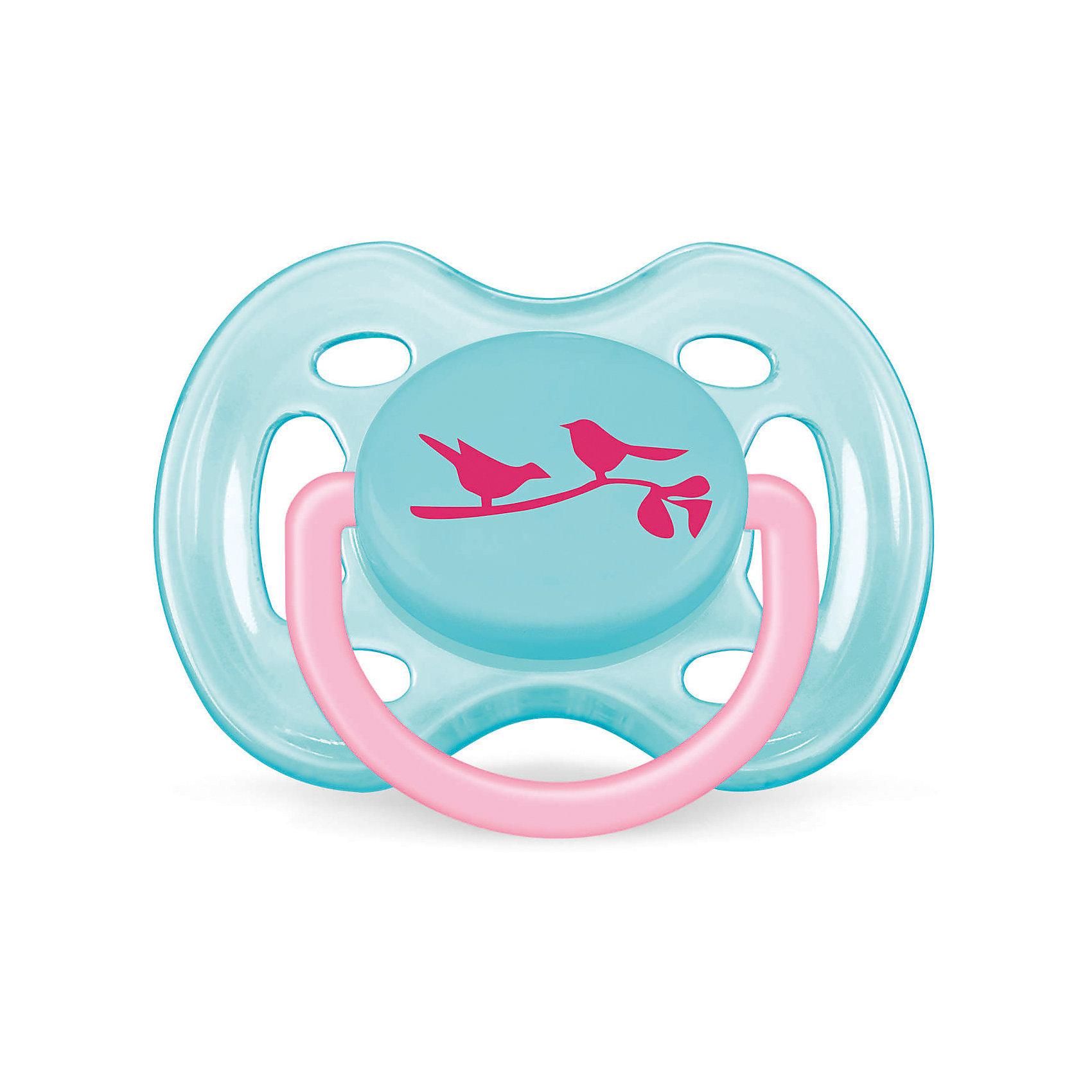 PHILIPS AVENT Пустышка Дизайн Птички для девочки , 0-6 месяцев, 1 шт., AVENT, голубой