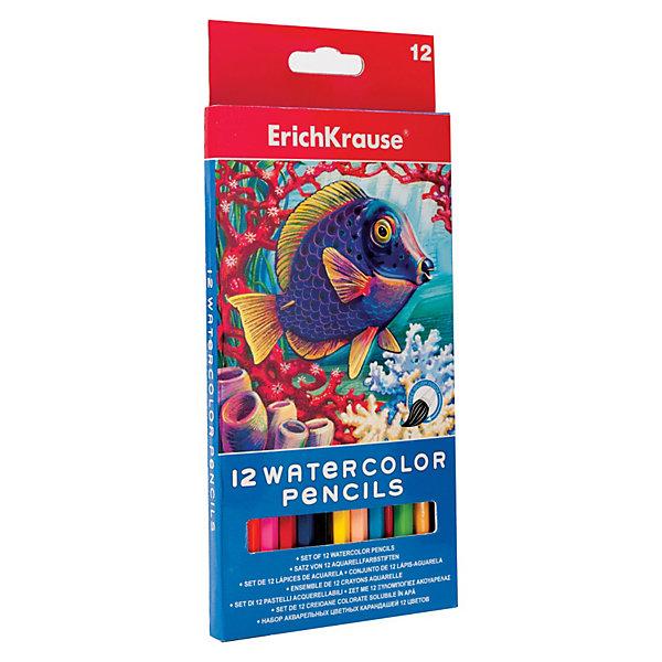 Erich Krause Карандаши акварельные с кисточкой, 12 цветов бумага lomond 0102084