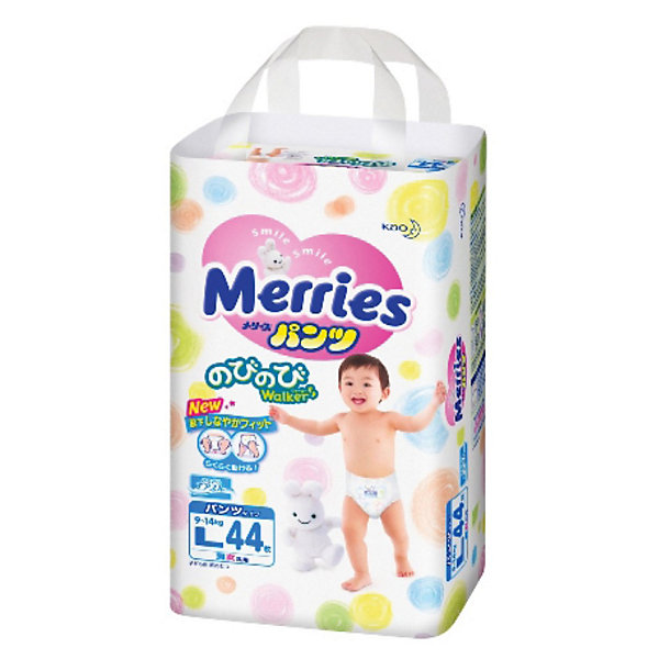 Merries Трусики-подгузники Merries L 9-14 кг, 44 шт. подгузники merries s 4 8кг 82шт 4901301230812