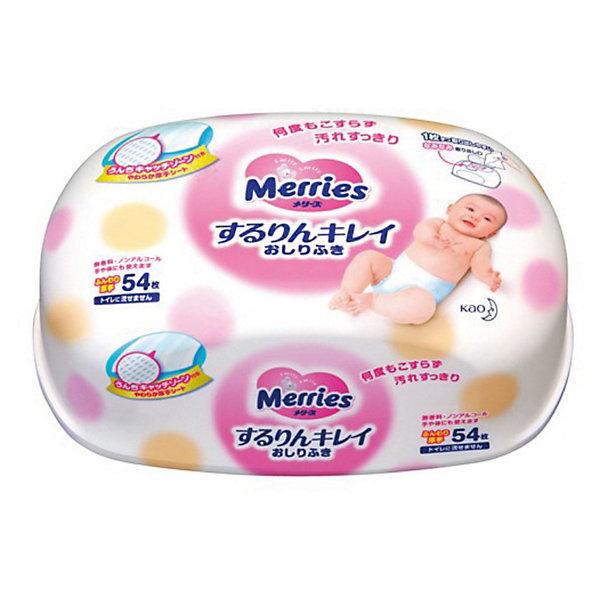 Merries Детские влажные салфетки Merries, 54 шт., пластиковый контейнер