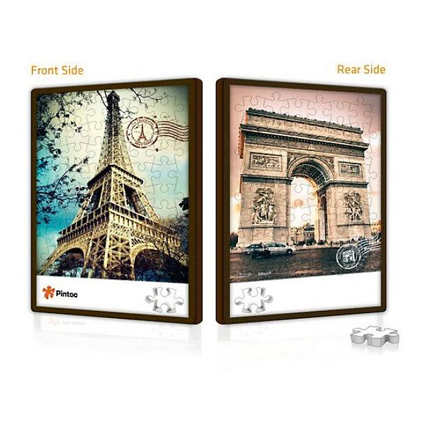 Pintoo Двусторонний пазл с рамкой Париж, Pintoo pintoo пазл на подставке сладкая деревня 80 деталей