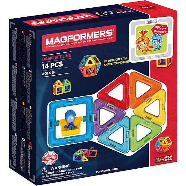 Магнитный конструктор MAGFORMERS 14Магнитные конструкторы<br>Магнитный конструктор MAGFORMERS 14- отличный набор, который можно смело рекомндовать детям от 1 года, идеально подходит для начала общения с семейством конструкторов Magformers.<br><br>В состав набора входят базовые фигуры Magformers - треугольники и квадраты, все детали разноцветные, яркие, и без сомнения понравятся ребенку.<br><br>Несмотря на то, что набор содержит небольшое количество деталей, его возможности достаточно широки. Ребенок научится различить геометрические формы, цвета, сможет освоить новый мир форм, делать несложные аппликации. Малыш сам создаст свой первый домик не только на плоскости, но и в трехмерном пространстве, таким образом сможет почувствовать разницу между двухмерными и объемными фигурами.<br><br>Набор «Magformers 14» содержит 14 элементов:<br><br>- треугольник: 8 шт.<br>- квадрат: 6 шт.<br>Ширина мм: 230; Глубина мм: 220; Высота мм: 50; Вес г: 300; Возраст от месяцев: 36; Возраст до месяцев: 192; Пол: Унисекс; Возраст: Детский; SKU: 3323946;