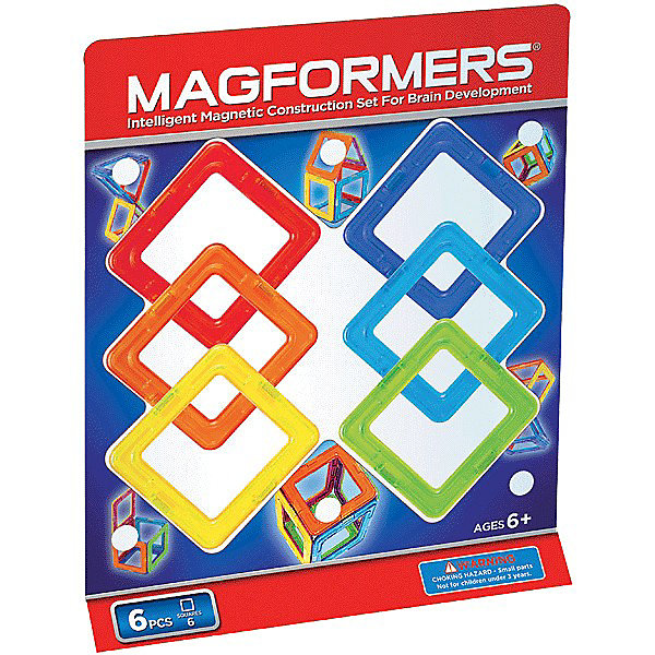 MAGFORMERS Магнитный конструктор Квадраты, 6 деталей, MAGFORMERS magformers tiny friends