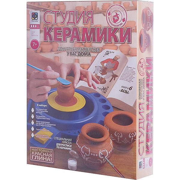 Вазы. Студия керамики. ФантазерГончарный круг для детей<br>Характеристики:<br><br>• возраст: от 7 лет;<br>• в комплекте: гончарный круг с ножным приводом, красная глина, подробная инструкция, краски, кисточка;<br>• материал: глина, пластмасса, краски, металл, дерево, бумага;<br>• упаковка: картонная коробка;<br>• размер упаковки: 44,6х36,6х9 см.;<br>• тип батареек: LR14;<br>• наличие батареек: нет в комплекте;<br>• страна бренда: Российская Федерация.<br><br>Набор для творчества Фантазер «Студия керамики. Вазы», поможет ребенку в полной мере освоить одно из древнейших гончарных искусств. Занятия гончарным искусством развивает в ребенке усидчивость, внимательность, координацию движений ребенка.<br><br>Набор позволит создать не только вазу, но и любую другую фигурку по желанию. В состав набора входит настоящая глина, что позволит при необходимости обжечь изделие для долговечности в печи. <br><br>Набор для творчества «Студия керамики. Вазы» можно купить в нашем интернет- магазине.<br>Ширина мм: 90; Глубина мм: 345; Высота мм: 440; Вес г: 400; Возраст от месяцев: 84; Возраст до месяцев: 144; Пол: Унисекс; Возраст: Детский; SKU: 3332426;