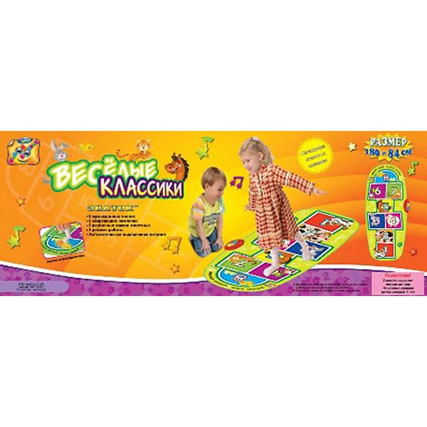Звуковой коврик Знаток Весёлые классикиИнтерактивные игрушки для малышей<br>Характеристики:<br><br>• возраст: от 3 лет;<br>• материал: пластик;<br>• тип батареек: 3хАА;<br>• наличие батареек: не в комплекте;<br>• размер коврика: 180х84 см;<br>• вес упаковки: 1,4 кг.;<br>• размер упаковки: 90х35х5 см;<br>• страна бренда: Россия.<br><br>Звуковой коврик Znatok «Весёлые классики» представляет собой известную с детства игру с прыжками и имеет три режима работы. Цифры на коврике обозначают музыкальные ноты, прыгая по ним малыш их услышит. Также клетки на игровом поле могут воспроизводить звуки животных при нажатии. Кроме того, классики подсвечиваются лампочками – нужно успеть наступить туда, где горит лампочка в данный момент. <br><br>При загрязнении коврик рекомендуется протирать влажной салфеткой. Для экономии энергии предусмотрен спящий режим. Имеется регулировка громкости. Коврик можно легко сложить для хранения и транспортировки. Не использовать острые предметы. Сделано из качественных материалов.<br><br>Звуковой коврик «Весёлые классики», «Знаток» можно купить в нашем интернет-магазине.<br>Ширина мм: 890; Глубина мм: 350; Высота мм: 60; Вес г: 1000; Возраст от месяцев: 36; Возраст до месяцев: 96; Пол: Унисекс; Возраст: Детский; SKU: 3341078;