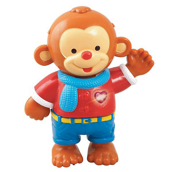 Развивающая игрушка Одень обезьянку, VtechИнтерактивные игрушки для малышей<br>Развивающая игрушка Одень обезьянку, Vtech (Втеч).<br><br>Характеристики:<br><br>• Для детей от 1,5 лет до 3 лет<br>• Комплектация: интерактивная фигурка обезьянки, 8 различных элементов одежды, сумка для хранения одежды<br>• Материал: пластик<br>• Размер обезьянки: 16х19х6,5 см.<br>• Обучающие режимы: учимся различать цвета, учимся подбирать одежду в зависимости от типа погоды и самочувствия, узнаём, какие бывают предпочтения в одежде<br>• 13 мелодий и 1 песня<br>• Батарейки: 2 типа ААА (в комплекте демонстрационные)<br>• Упаковка: красочная подарочная коробка<br>• Размер упаковки: 32х27,5х9 см.<br><br>Развивающая игрушка Одень обезьянку от французской компании Vtech – великолепный игровой набор, который надолго увлечет малышей. В набор входит интерактивная фигурка обезьянки, а также 8 различных элементов одежды. <br><br>Задача малыша - придумать для обезьянки разные наряды. Когда ребенок будет одевать на обезьянку элементы одежды, она будет проговаривать их названия. Ну а множество веселых ободряющих звуков и мелодий сделают игру еще интереснее. В процессе игры ребенок выучит названия одежды, научится различать цвета и познакомится с навыками повседневной жизни. Режим «Экзамен» позволит закрепить полученные знания. <br><br>При нажатии на светящуюся кнопку-сердечко, расположенную на груди обезьянки, зазвучит веселая песня «Улыбка» из мультфильма «Крошка Енот». Игрушка озвучена профессиональным голосом. Предусмотрен таймер автоматического отключения. Игрушка изготовлена из прочного безопасного не бьющегося пластика. Продается в красочной коробке и идеально подходит в качестве подарка.<br><br>Развивающую игрушку Одень обезьянку, Vtech (Втеч) можно купить в нашем интернет-магазине.<br>Ширина мм: 330; Глубина мм: 100; Высота мм: 280; Вес г: 900; Возраст от месяцев: 18; Возраст до месяцев: 36; Пол: Унисекс; Возраст: Детский; SKU: 3341124;